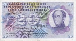BILLETE DE SUIZA DE 20 FRANCS DEL AÑO 1973 (BANKNOTE) - Suiza