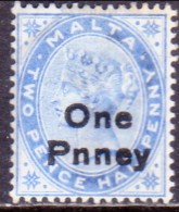 MALTA 1902 SG #36 1d On 2½d MH Dull Blue CV £32 Opt Pnney - Malta (...-1964)