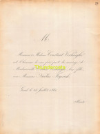 VERHAEGHE LEYERICK GAND 1861 - Mariage