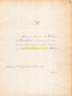 DE WOUTERS DE BOUCHOUT VAN DER MAELEN CHATEAU DE KORTIJK 1857 - Mariage