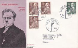 PRIX NOBEL PRIZE NOBELPREIS FRIEDEN PAIX PEACE 1930 - BISHOP NATAN SODERBLOM SWEDEN SUEDE SCHWEDEN 1966 MI 544 545 FDC - Nobelpreisträger