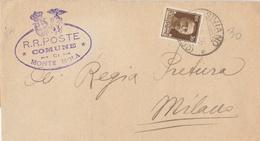 Siviano. 1936. Annullo Frazionario  Su Lettera Affarncata Con C.50 + Ovale COMUNE DI MONTE ISOLA - 1900-44 Victor Emmanuel III