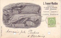 Briefkaart - Postkaart - Carte Postale - Pub Reclame Fonderie L. Frennet - Wauthier - Ligny à Warcoing - 1911 - Stamped Stationery