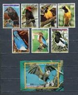 EQUATORIAL GUINEA 1976  Mi # 1007 - 1013 + Block 251 BIRDS AMERICA DEL NORTE MNH - Equatorial Guinea
