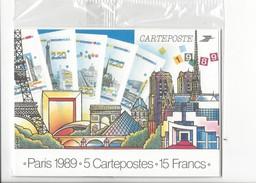 15868 -  Paris Philexfrance 1989 5 Cartepostes Neuves Dans Emballage (Format 10X15) - Ausstellungen