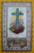 Ancienne IMAGE PIEUSE Chromo Dopter Pl 429 LES BONS CONSEILS - FAITES LE BIEN , FUYEZ LE MAL / HOLY CARD SANTINO - Imágenes Religiosas