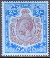 MALTA 1914 SG #86 2sh MH Purple And Bright Blue On Blue Wmk Mult. Crown CA CV £50 - Malta (...-1964)