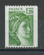 FRANCE -  1F20 Vert SABINE PRATIQUEMENT SANS PHOSPHO -  N° Yvert 2103b** PAPIER BLANC SOUS UV (AZURANT OPTIQUE) - 1977-81 Sabine Van Gandon