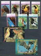 EQUATORIAL GUINEA 1976  Mi # 1007 - 1013 + Block 250 + 251 BIRDS AMERICA DEL NORTE COLOR VARIETY IMPERF MNH - Equatorial Guinea