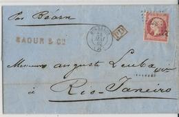 1862 - 80c EMPIRE SEUL Sur LETTRE De BORDEAUX => RIO DE JANEIRO (BRESIL) Par PAQUEBOT BEARN - MARITIME - COTE = 700 EUR. - 1849-1876: Période Classique