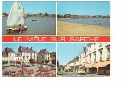 61 Le Mele Sur Sarthe Carte 4 Vues Le Plan D' Eau La Place Voiture Automobile Citroen DS Renault 5 R5 - Le Mêle-sur-Sarthe