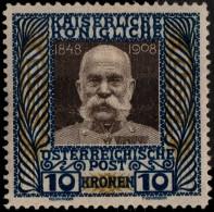 ~~~ Austria Osterreich 1908  ( 1916 ) -  Franz Joseph Auf Grauem Tiefdruckpapier  - Mi. 156 Z * MH  - KW 700.00 € ~ - 1850-1918 Imperium