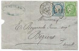 - Lettre - TARN - GAILLAC Du TARN - GC.1611 S/TP N°37 Et TPND N°42 - Càd T.17 - 1871 - 1870 Uitgave Van Bordeaux
