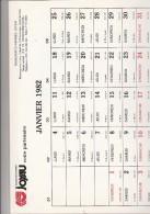 CALENDRIER PUBLICITAIRE ILLUSTRE DE 12 DESSINS HUMORISTIQUES- 1982 - TRANSPORTS JOYAU - - Calendari