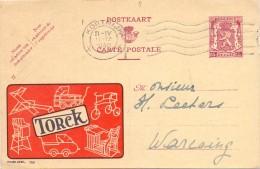 Briefkaart - Postkaart - Publibel 750 - Pub Reclame Torck Deinze - Kortrijk - à Warcoing - 1949 - Entiers Postaux