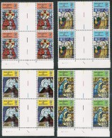 GUERNSEY 1973 CHRISTMAS Gutter Pair Cylinder Blocks Of 4. SET Of 4  Unmounted Mint SG 89/92 - Guernsey