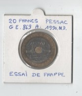 20 FRANCS PESSAC.ESSAI DE FRAPPE.ND.1987 .SUP. - Essais