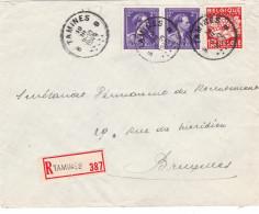 N° 693 Paire +763 / Lettre Recommandé De Tamines Vers BXL - 1934-1935 Léopold III