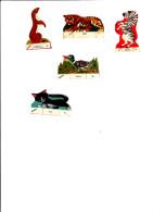 Rare Image Ancienne, Chromos Découipis Carton BANANIA N° 509 Canard, 514 Chat,608 Zébre,611 Tigre, 704 Hermine - Altri