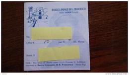Ticket Entrée . Italia. Basilica Papale Di S. Francesco. Assisi - Eintrittskarten