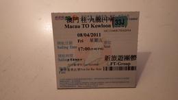 Ticket D'embarquement .Macau To Kowloon. Macao - Hong Kong - Billets D'embarquement De Bateau