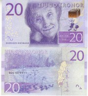 SWEDEN Newly Issued Attractive 20 Kronor   P69 ( Astrid Linfren  Poet )     (2015)    UNC - Suède