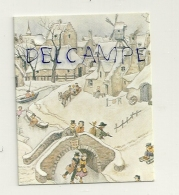 Etiquette Double Cadeaux. Village Enneigé, Passants. 5/6,5 Cm - Cartes Cadeaux
