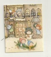 Etiquette Double Cadeaux. Maison, Enfants Et Bonhomme De Neige. 5/6,5 Cm - Cartes Cadeaux