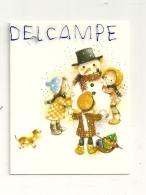 Etiquette Double Cadeaux. Bonhomme De Neige, Enfants Et Chiot. 5/6,5 Cm - Cartes Cadeaux