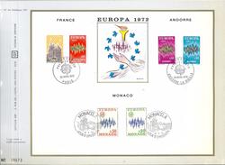 Document Philatélique CEF - France - Andorre - Monaco - Europa 1972 - (1er Jour) - Autres