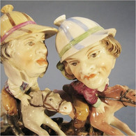 ~ STATUE CARICATURE JOCKEY EN PORCELAINE # Equitation Sport Chevaux Sculpture Humour - Céramiques
