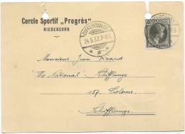 "Privat Postkarte Mit Mi. 170 - Cercle Sportif ""Progrès"" Niedercorn Nach Schifflange, F.C. ""The National"" - 24-05-1932 - Stamped Stationery"