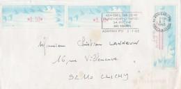 Lettre Asnières  8/1/1993 Avec Vignette ( 3,40 Et 0,50 ) Et Reçu ( 11,60 ) Distributeur LISA Pour Clichy - Covers & Documents