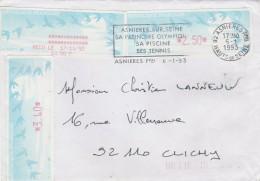 Lettre Asnières  6/1/1993 Avec Vignette ( 3,40 Et 2,50 ) Et Reçu ( 10,00 ) Distributeur LISA Pour Clichy - Covers & Documents