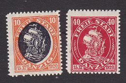 Danzig, Scott #50, 52, Mint Hinged, Hanseatic Trading Ship, Issued 1921 - Dantzig