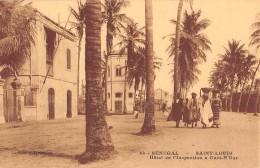 "06398""SENEGAL -  SANT LOUIS - L'HOTEL DE L'INSPECTION A GUET N-DAR"" ANIMATA. CART. ILL. ORIG. NON SPED. - Senegal"