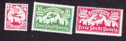 Danzig, Scott #C6, C9, C21, Mint Hinged, Plane Over Danzig, Issued 1921-23 - Danzig