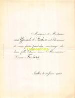VAN YPERSELE DE STRIHOU CLAIRE LEONCE FRATERS IXELLES 1901 - Mariage