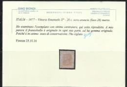 OFFERTA!!!!! ITALIA REGNO ITALY KINGDOM 1877 VITTORIO EMANUELE II  CENTESIMI 20 CENT. MLH CERTIFICATO BEN CENTRATO - 1861-78 Victor Emmanuel II