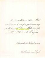 ALEXIS MOLS LOUISE COMTE GHISLAIN DE MAIGRET ANVERS 1909 - Mariage