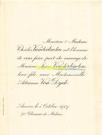 CHARLES VANDERLINDEN JEAN ADRIENNE VAN DYCK ANVERS 1909 - Mariage