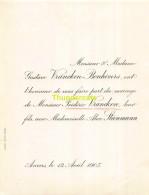 GUSTAVE VRANCKEN FREDRIC ALICE STEINMANN ANVERS 1905 - Mariage