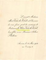 AVOCAT ALBERT VAN DE VORST HELENE ARTHUR PLATEN ANVERS 1912 - Mariage