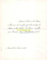 OLIVIER LE JEUNE ADELINE LOUIS BEECKMANS AVOCAT ANVERS 1900 - Mariage