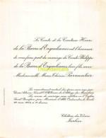 COMTE HENRI DE LA BARRE D ERQUELINNES PHILIPPE MARIE THERESE PARMENTIER CHATEAU DES VIVIERS TURBISE 1954 - Mariage