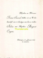 COGEN AUGUST JULIA SNOECK FRANS ANTWERPEN 1925 - Mariage