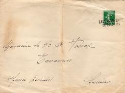France Cachet Linéaire Lausanne Gare Expéd. Lettres Sur Lettre - Poststempel (Briefe)