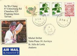 Lettre Recommandée De Taïwan Adressée ANDORRA, Avec Timbre à Date Arrivée (deux Photos) - 1945-... République De Chine