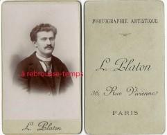 CDV  Beau Portrait D'homme-photo Le Platon-36 Rue Vivienne à Paris - Photos