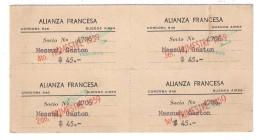 Cotisation Annuelle ALIANZA FRANCESA , Buenos Aires Argentina ( 4 Trimestres ) Alliance Française 1959, TB - Vecchi Documenti